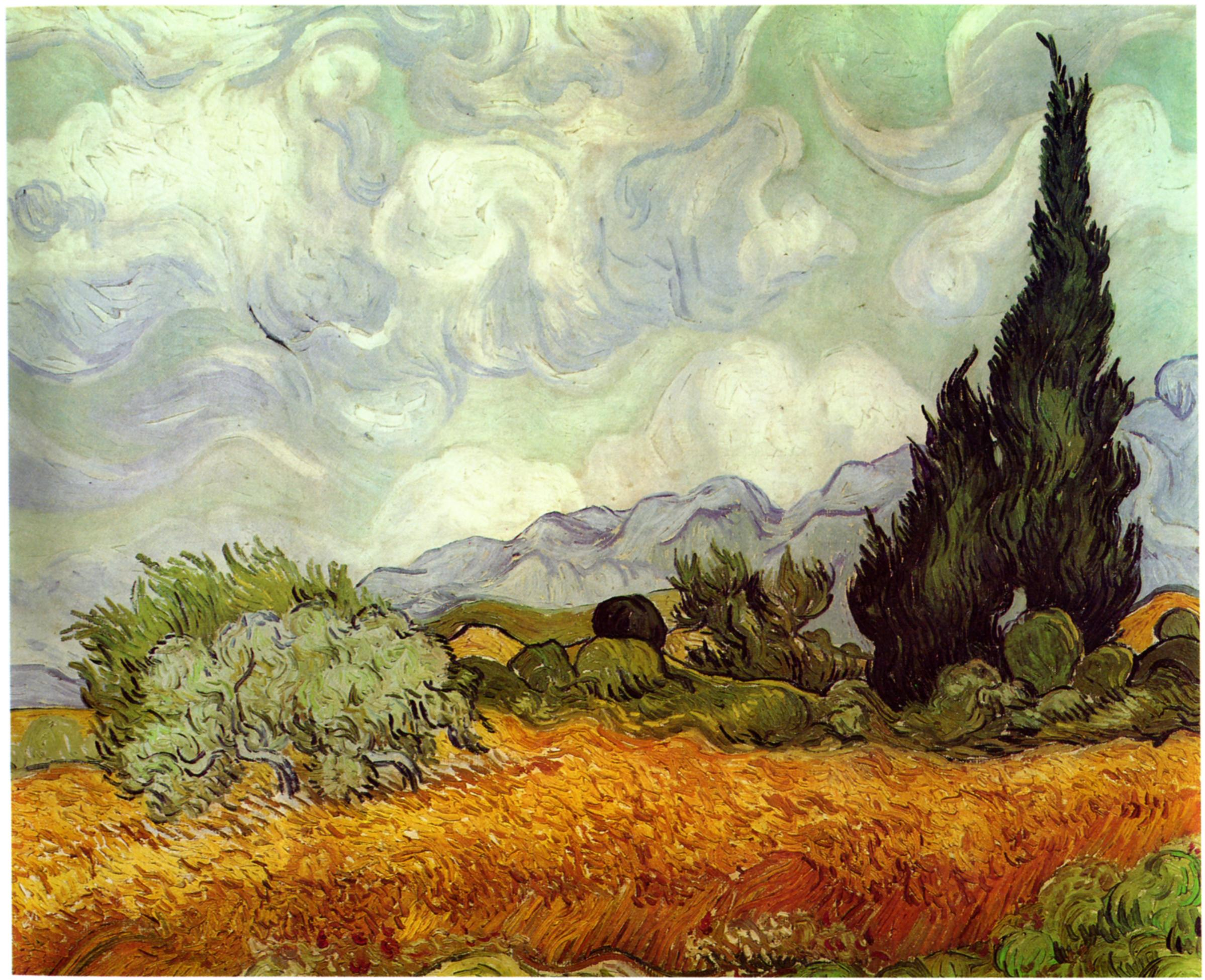 Wheat Field with Cypresses. Vincent van Gogh. 1889.