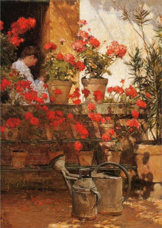 Geraniums. Childe Hassam. 1888.