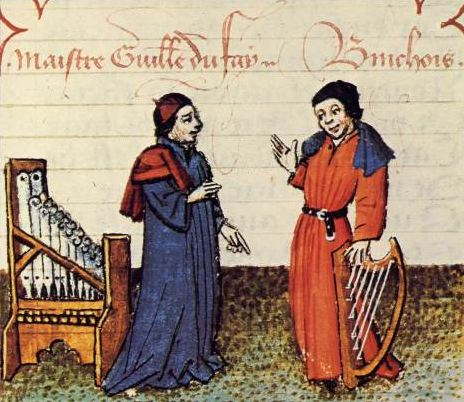 Guillaume Dufay (left), with contemporary composer Gilles Binchois