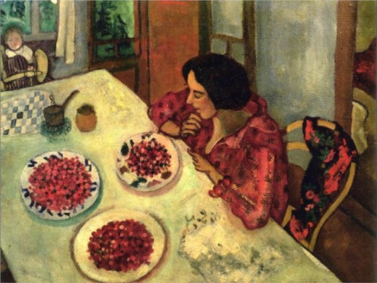 Strawberries. Bella and Ida at the Table. Marc Chagall. 1916.